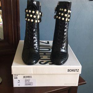 8b4602109bc SCHUTZ Shoes - Schutz black croc boots. Never worn